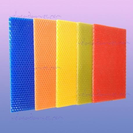 Láminas de cera virgen de colores de 20 x 20 cm.