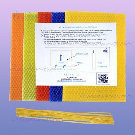 Pack 10 láminas cera de colores de 20 x 15 cm.