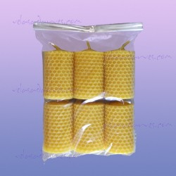 Pack 12 velas panal de 6,5 x 4 cm. naturales