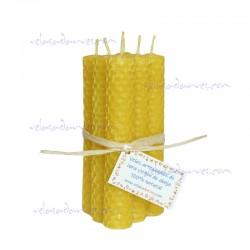 Pack 6 velas panal 13 x 2 cm. naturales