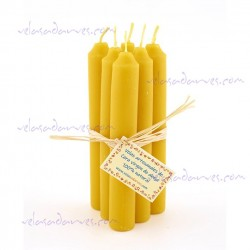 Pack 6 velas cera natural 15 x 2 cm.