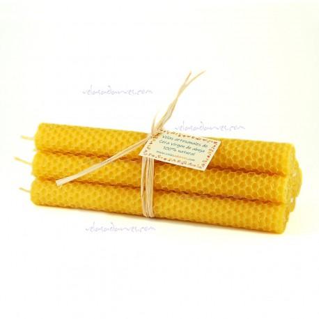 Pack 6 velas de panal de 20 x2 cm. color natural