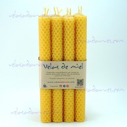 Pack 12 velas 20 x 2 cm color natural
