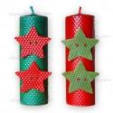 Vela Navidad estrella de 20 x 6 cm.