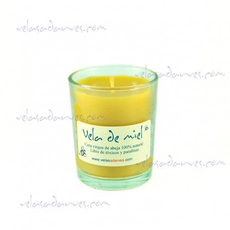 Vela de cera de abeja en vaso